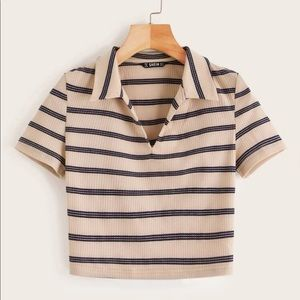 Ribbed Striped Top Short Sleeve Crop Top (new!)